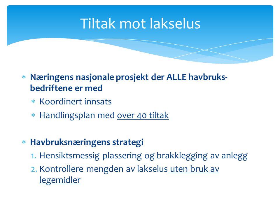 Tiltak mot lakselus Næringens nasjonale prosjekt der ALLE havbruks-bedriftene er med. Koordinert innsats.