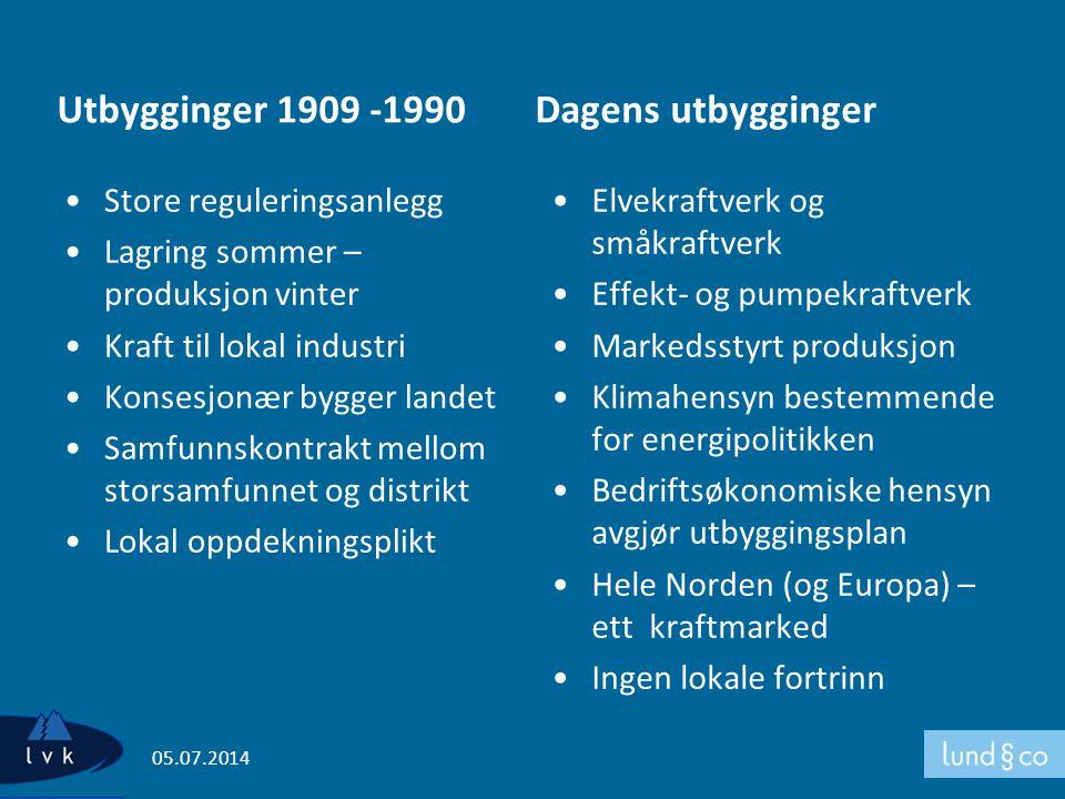 Utbygginger 1909 -1990 Dagens utbygginger Store reguleringsanlegg