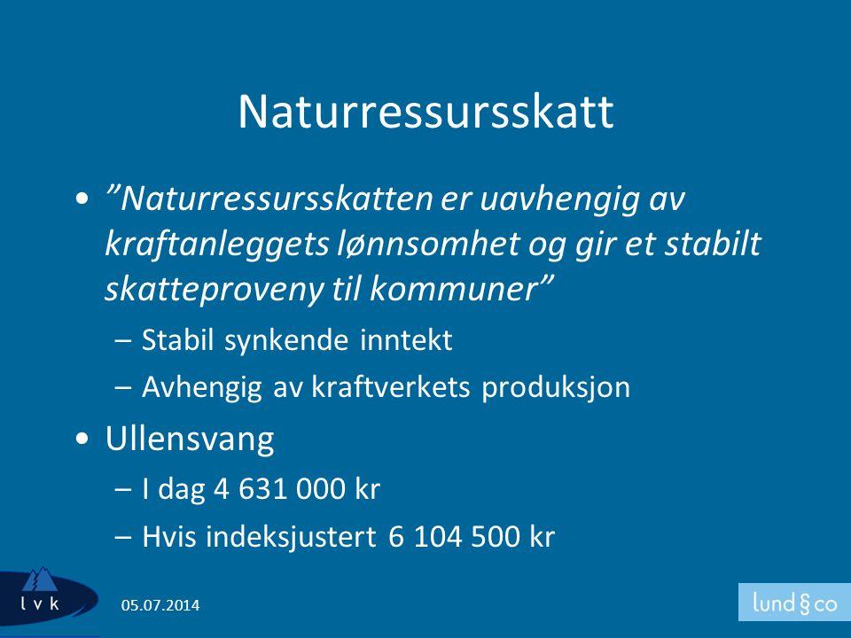 Naturressursskatt Naturressursskatten er uavhengig av kraftanleggets lønnsomhet og gir et stabilt skatteproveny til kommuner
