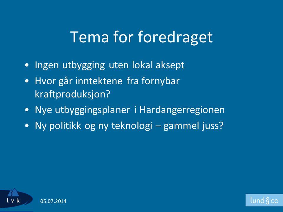 Tema for foredraget Ingen utbygging uten lokal aksept