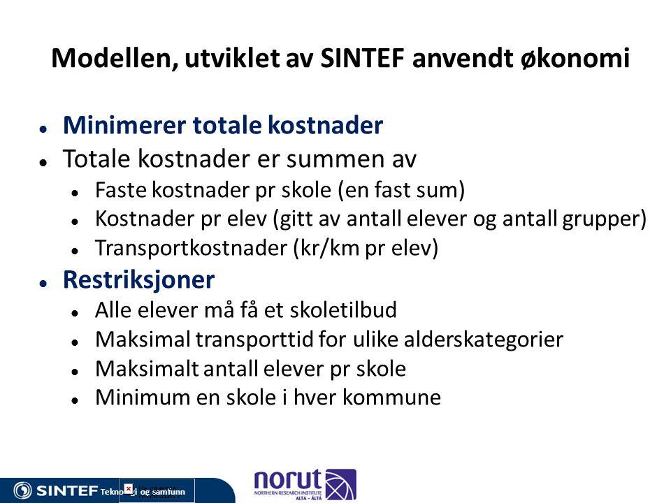 Modellen, utviklet av SINTEF anvendt økonomi