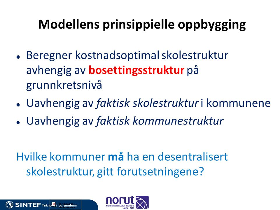 Modellens prinsippielle oppbygging