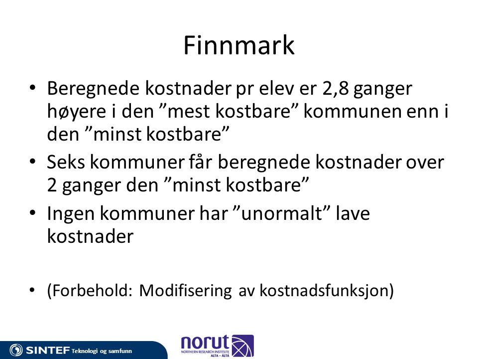 Finnmark Beregnede kostnader pr elev er 2,8 ganger høyere i den mest kostbare kommunen enn i den minst kostbare
