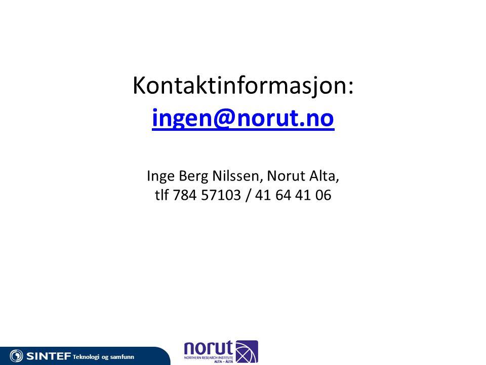 Kontaktinformasjon: ingen@norut