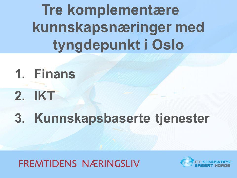Tre komplementære kunnskapsnæringer med tyngdepunkt i Oslo