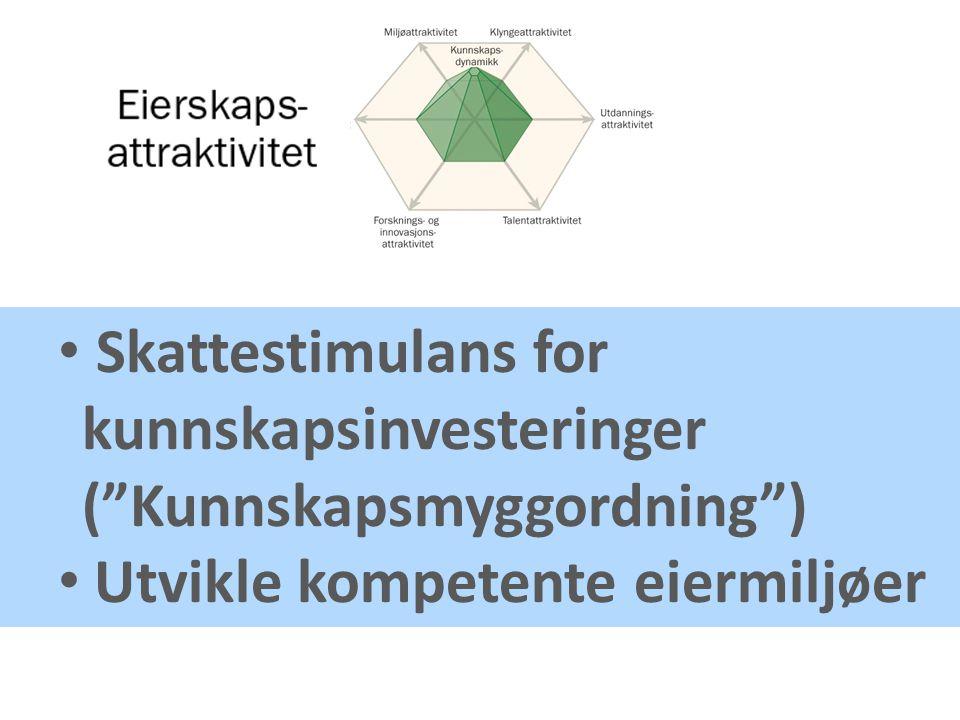 Skattestimulans for kunnskapsinvesteringer ( Kunnskapsmyggordning ) Utvikle kompetente eiermiljøer