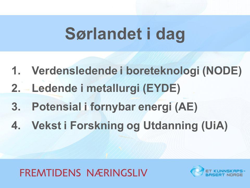 Sørlandet i dag Verdensledende i boreteknologi (NODE)