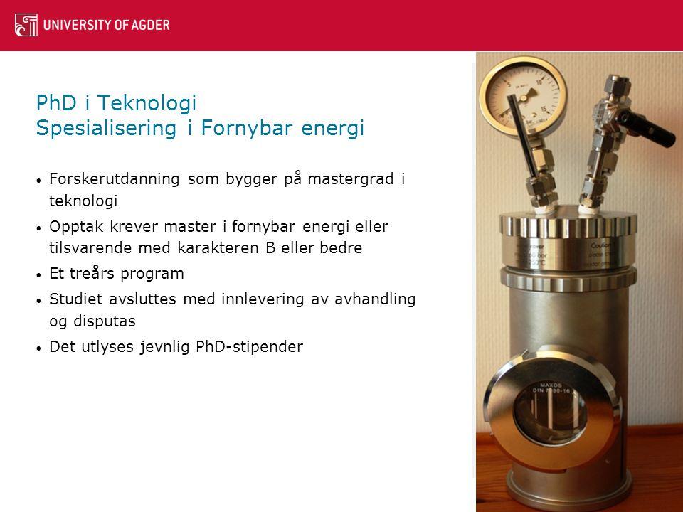 PhD i Teknologi Spesialisering i Fornybar energi