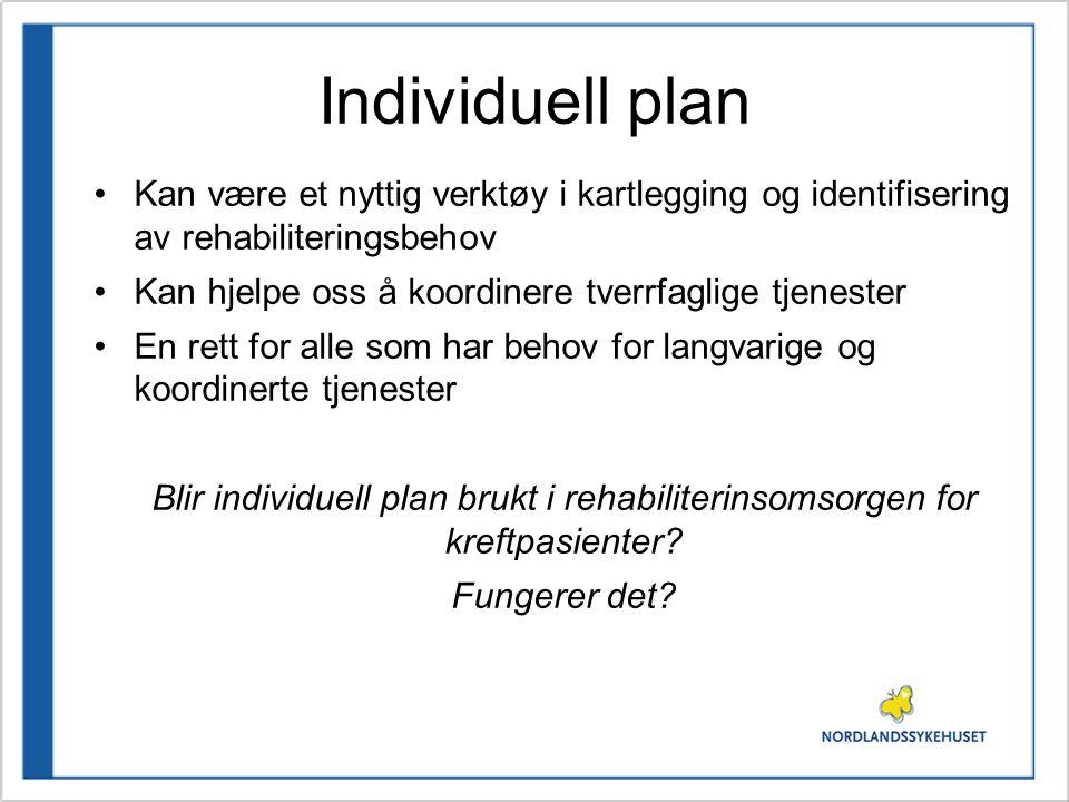 Individuell plan Kan være et nyttig verktøy i kartlegging og identifisering av rehabiliteringsbehov.