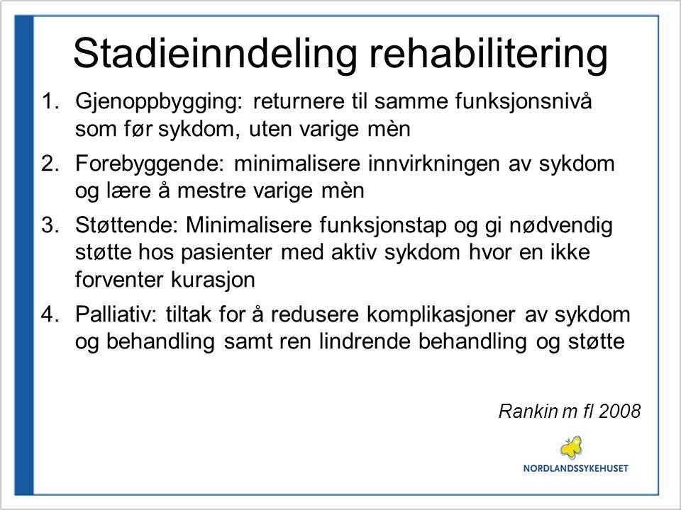 Stadieinndeling rehabilitering