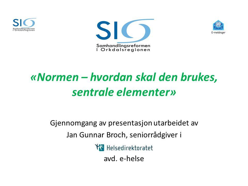 «Normen – hvordan skal den brukes, sentrale elementer»