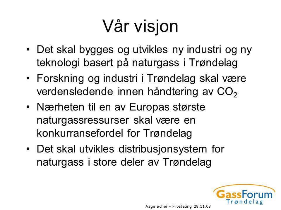 Vår visjon Det skal bygges og utvikles ny industri og ny teknologi basert på naturgass i Trøndelag.