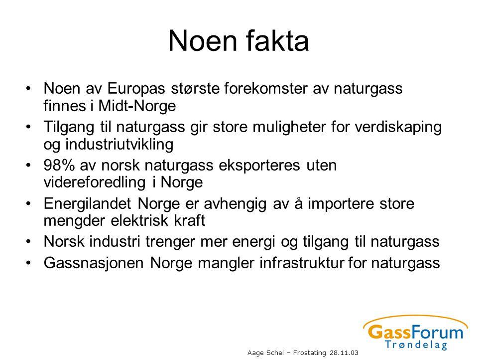 Noen fakta Noen av Europas største forekomster av naturgass finnes i Midt-Norge.