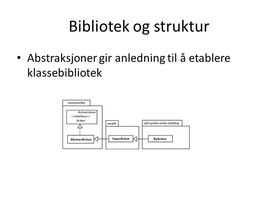 Bibliotek og struktur Abstraksjoner gir anledning til å etablere klassebibliotek