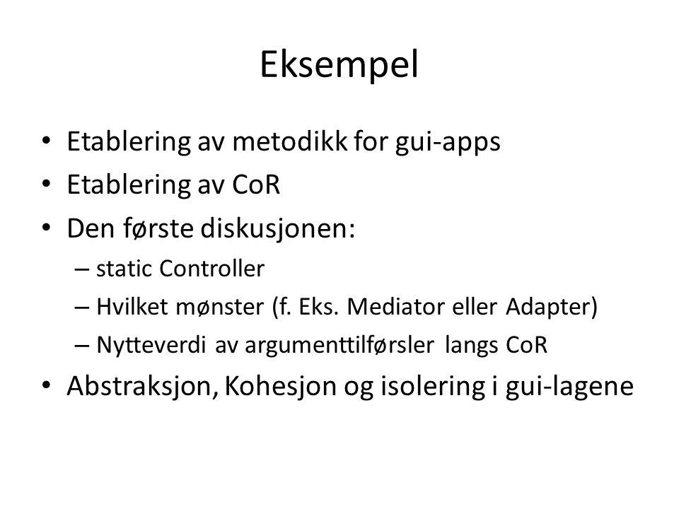 Eksempel Etablering av metodikk for gui-apps Etablering av CoR