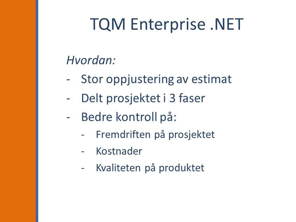 TQM Enterprise .NET Hvordan: Stor oppjustering av estimat