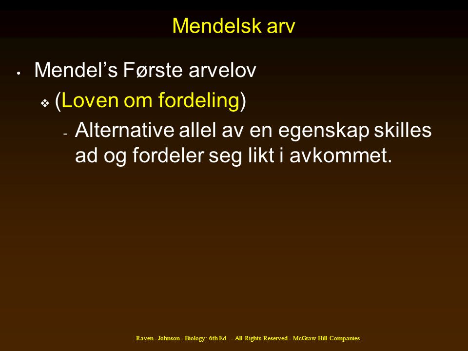 Mendel's Første arvelov (Loven om fordeling)