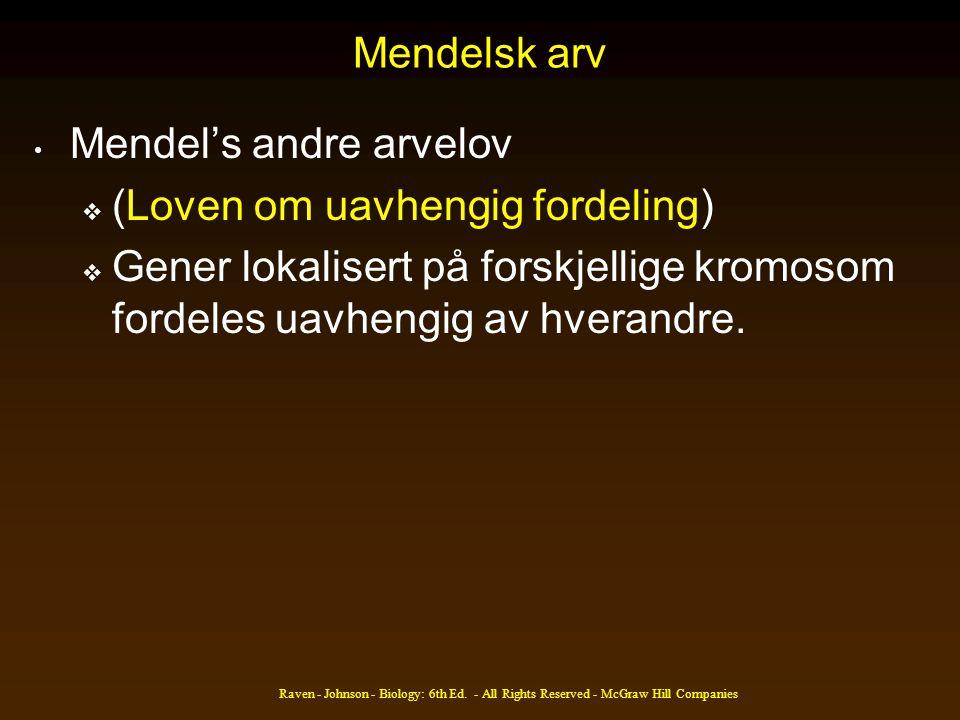 Mendel's andre arvelov (Loven om uavhengig fordeling)