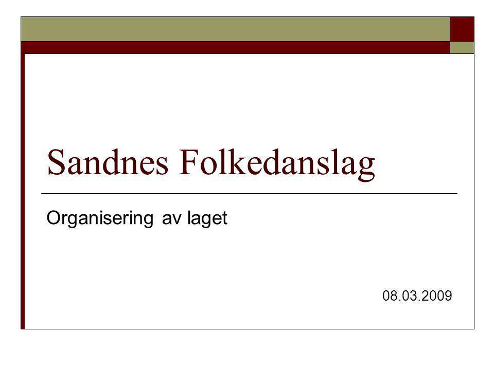Sandnes Folkedanslag Organisering av laget 08.03.2009