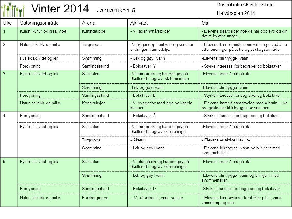Vinter 2014 Januar uke 1-5 Rosenholm Aktivitetsskole Halvårsplan 2014