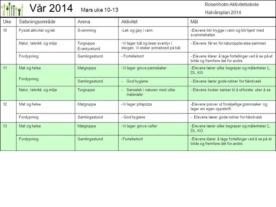 Vår 2014 Mars uke 10-13 Rosenholm Aktivitetsskole Halvårsplan 2014 Uke