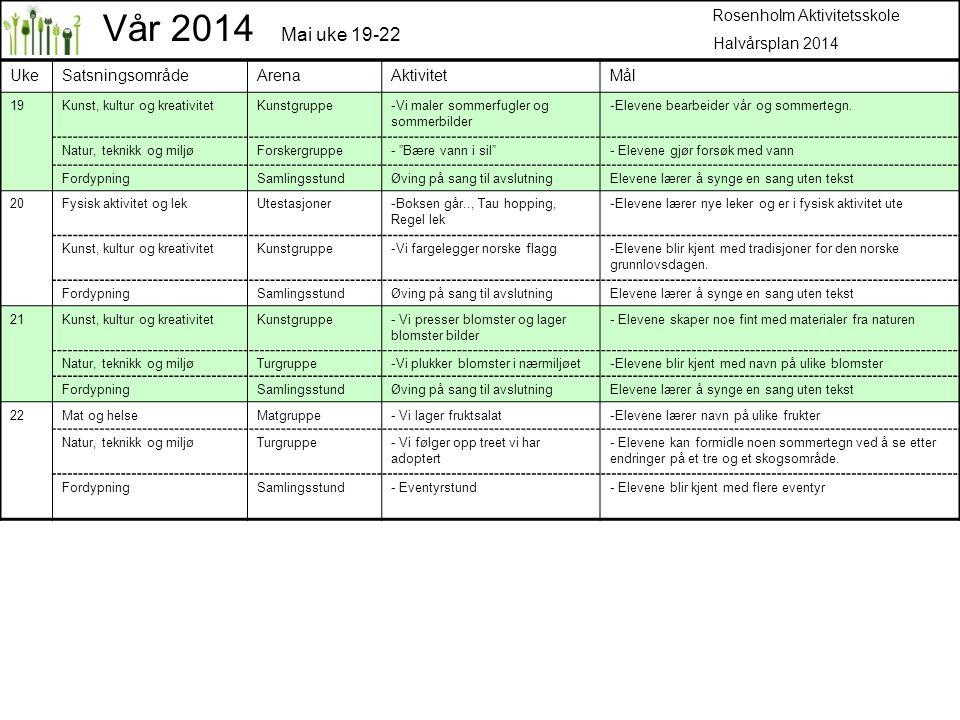 Vår 2014 Mai uke 19-22 Rosenholm Aktivitetsskole Halvårsplan 2014 Uke
