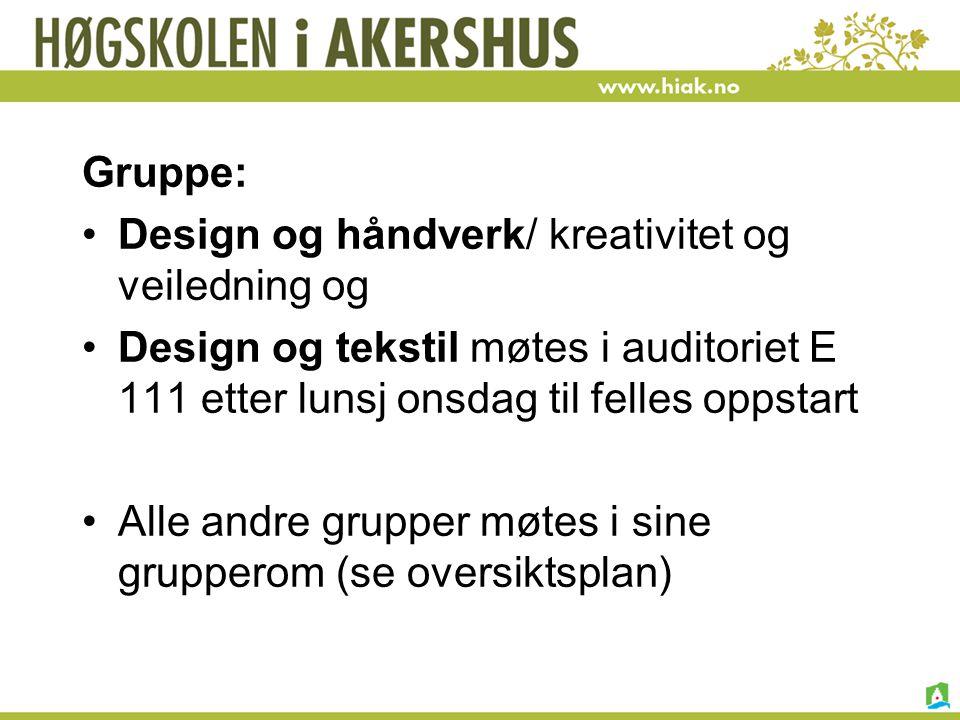 Gruppe: Design og håndverk/ kreativitet og veiledning og. Design og tekstil møtes i auditoriet E 111 etter lunsj onsdag til felles oppstart.