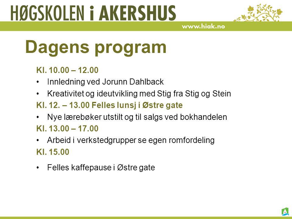 Dagens program Kl. 10.00 – 12.00 Innledning ved Jorunn Dahlback