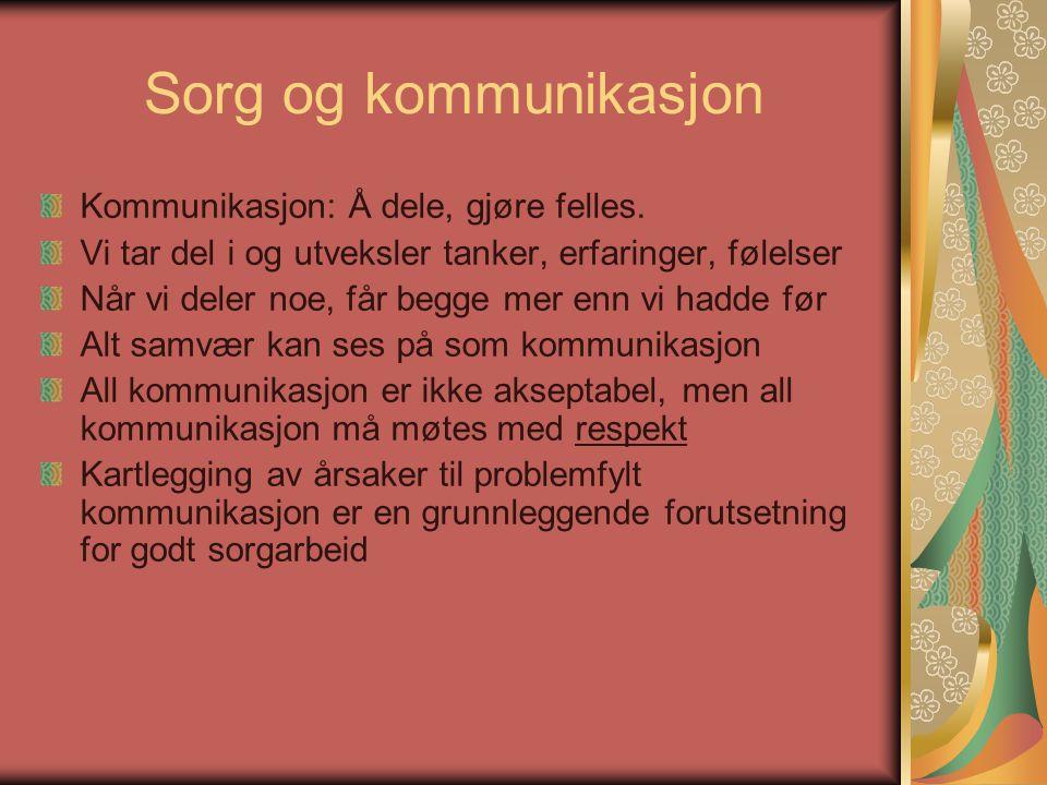 Sorg og kommunikasjon Kommunikasjon: Å dele, gjøre felles.