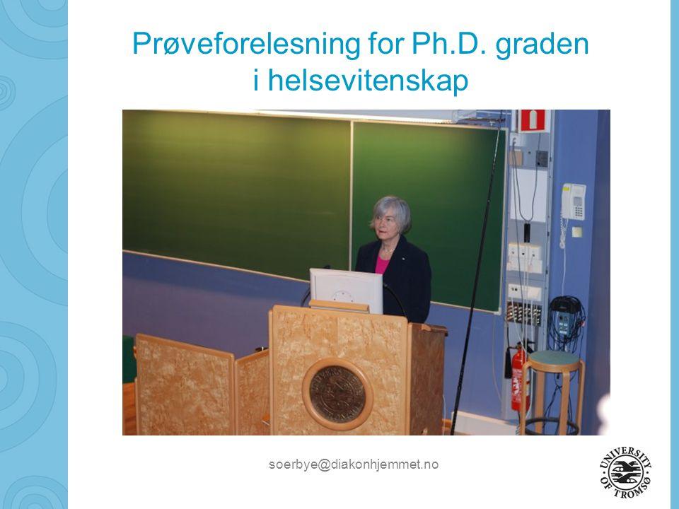 Prøveforelesning for Ph.D. graden