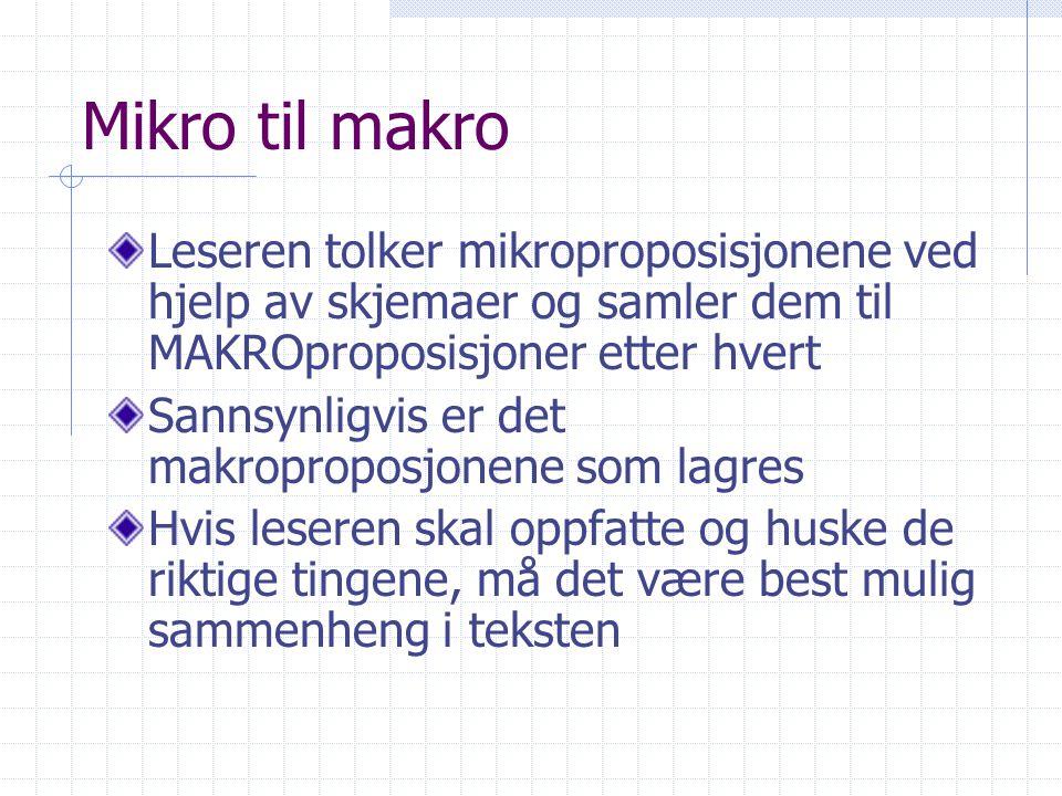 Mikro til makro Leseren tolker mikroproposisjonene ved hjelp av skjemaer og samler dem til MAKROproposisjoner etter hvert.