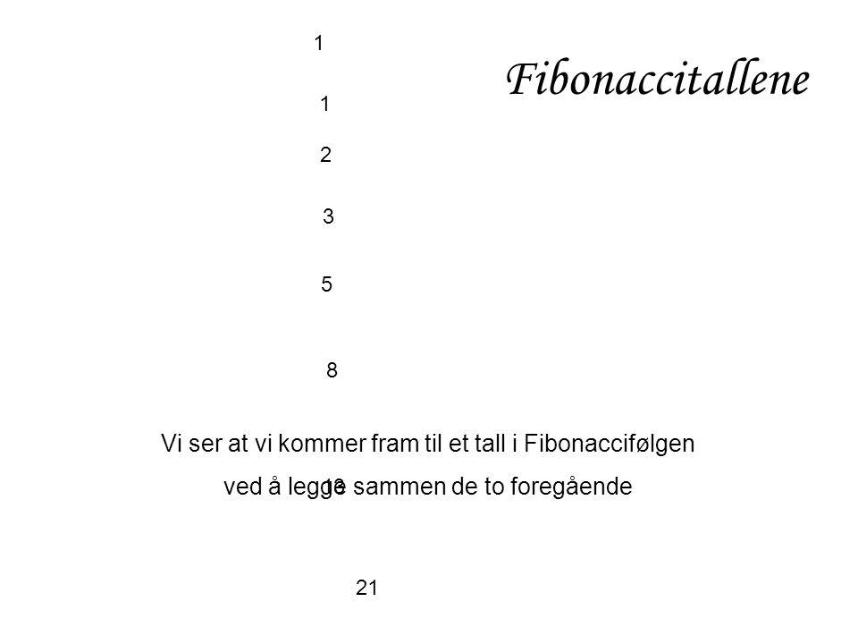 Fibonaccitallene 1. 1. 2. 3. 5. 8. Vi ser at vi kommer fram til et tall i Fibonaccifølgen. ved å legge sammen de to foregående.