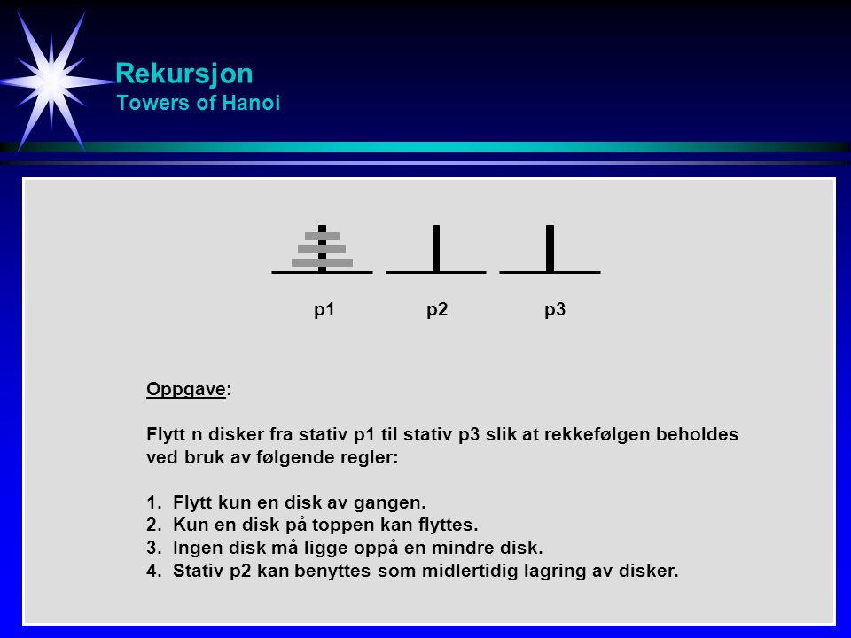 Rekursjon Towers of Hanoi