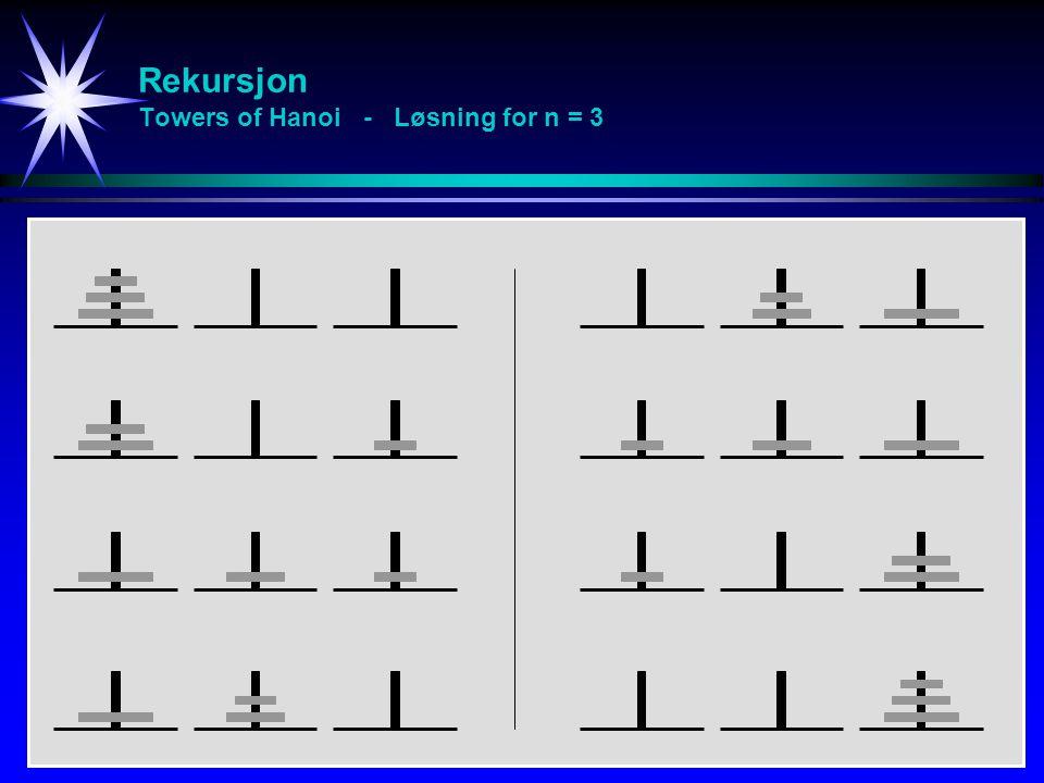 Rekursjon Towers of Hanoi - Løsning for n = 3
