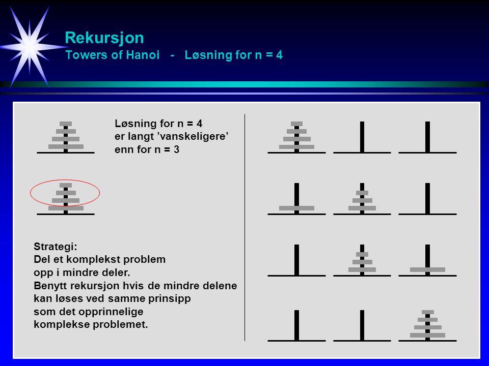 Rekursjon Towers of Hanoi - Løsning for n = 4