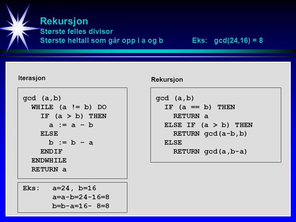 Rekursjon Største felles divisor Største heltall som går opp i a og b Eks: gcd(24,16) = 8