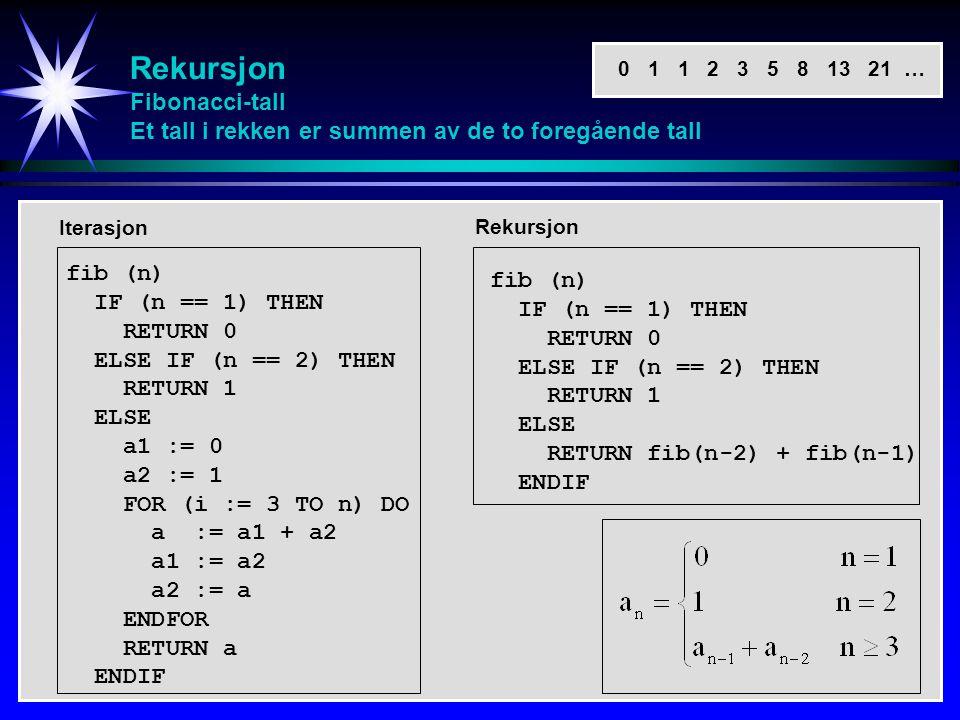 Rekursjon Fibonacci-tall Et tall i rekken er summen av de to foregående tall