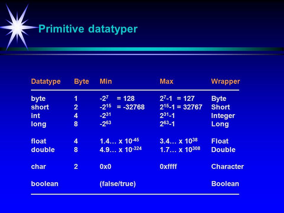 Primitive datatyper Datatype Byte Min Max Wrapper