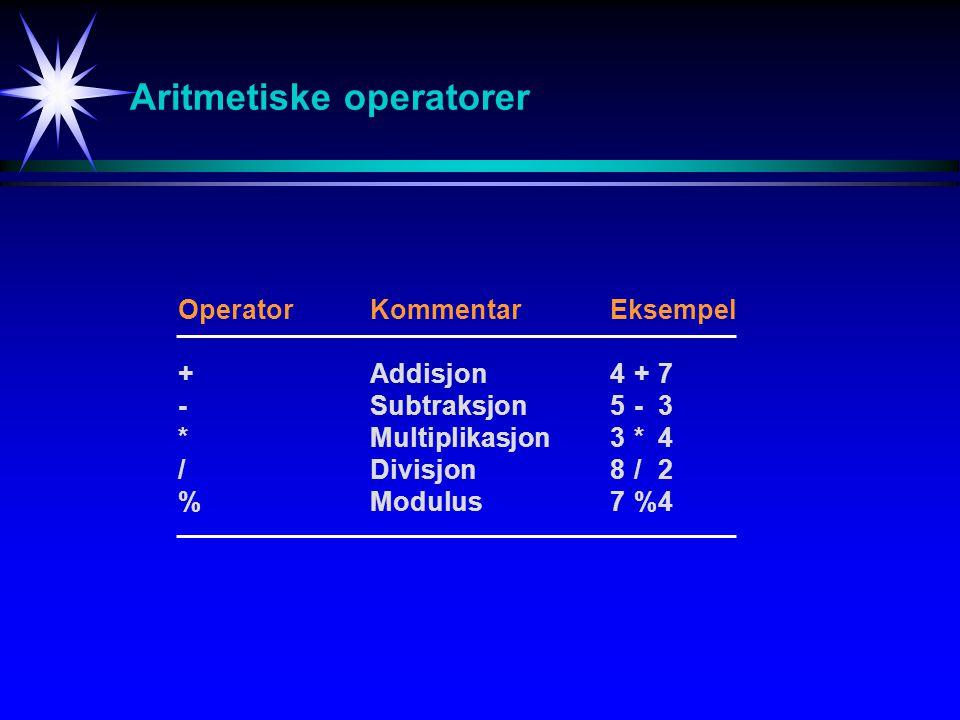 Aritmetiske operatorer