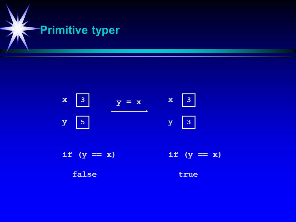 Primitive typer x y = x y if (y == x) if (y == x) false true 3 x 3 5 y