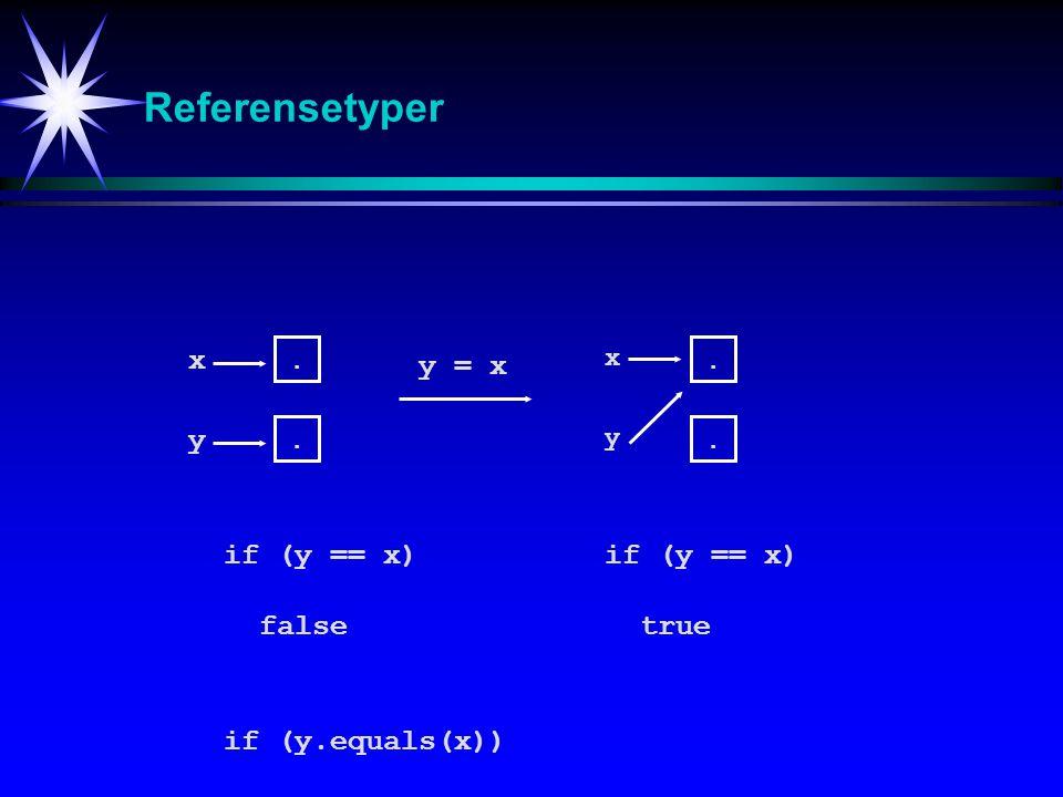 Referensetyper x y = x y if (y == x) if (y == x) false true