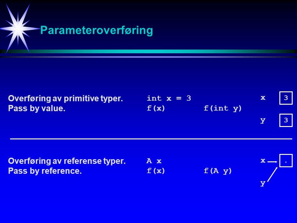 Parameteroverføring Overføring av primitive typer. Pass by value.