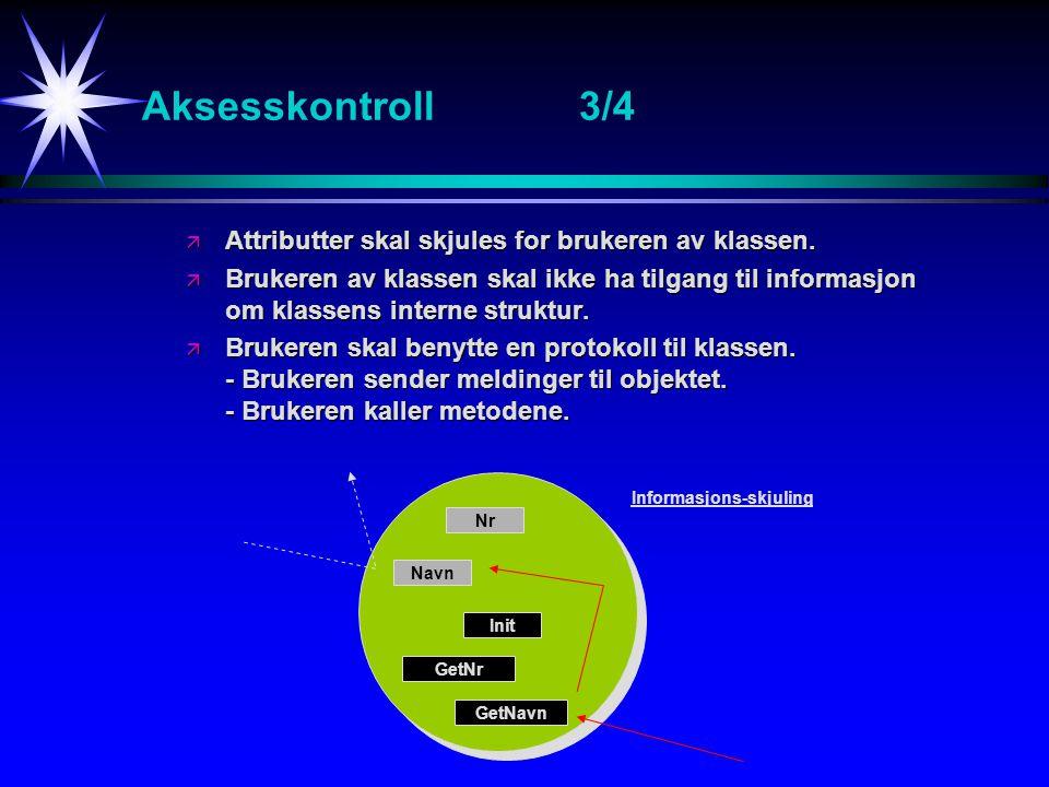 Aksesskontroll 3/4 Attributter skal skjules for brukeren av klassen.