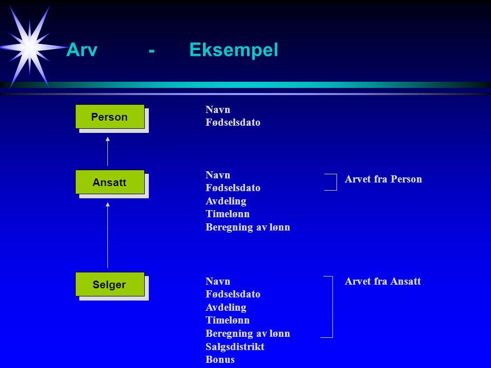 Arv - Eksempel Navn Fødselsdato Person Navn Fødselsdato Avdeling