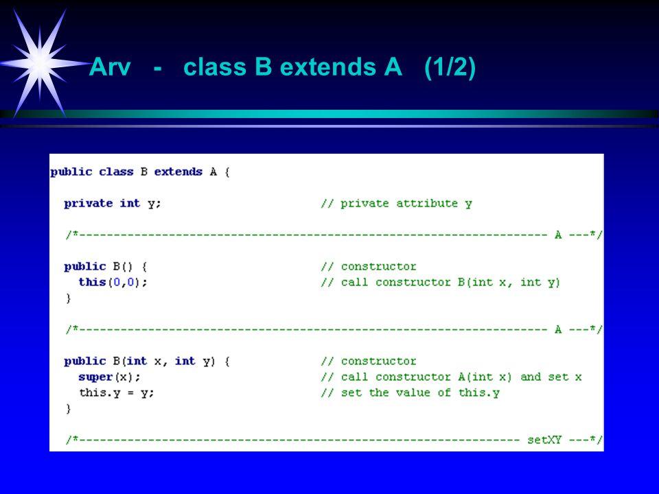 Arv - class B extends A (1/2)