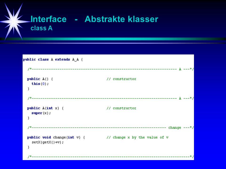Interface - Abstrakte klasser class A