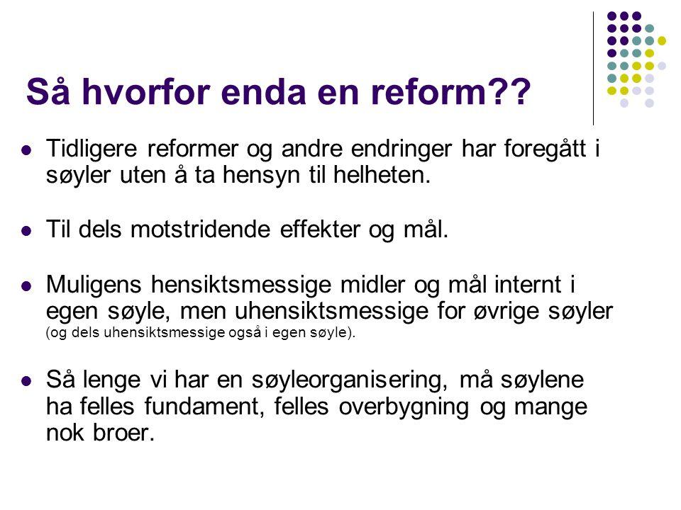 Så hvorfor enda en reform