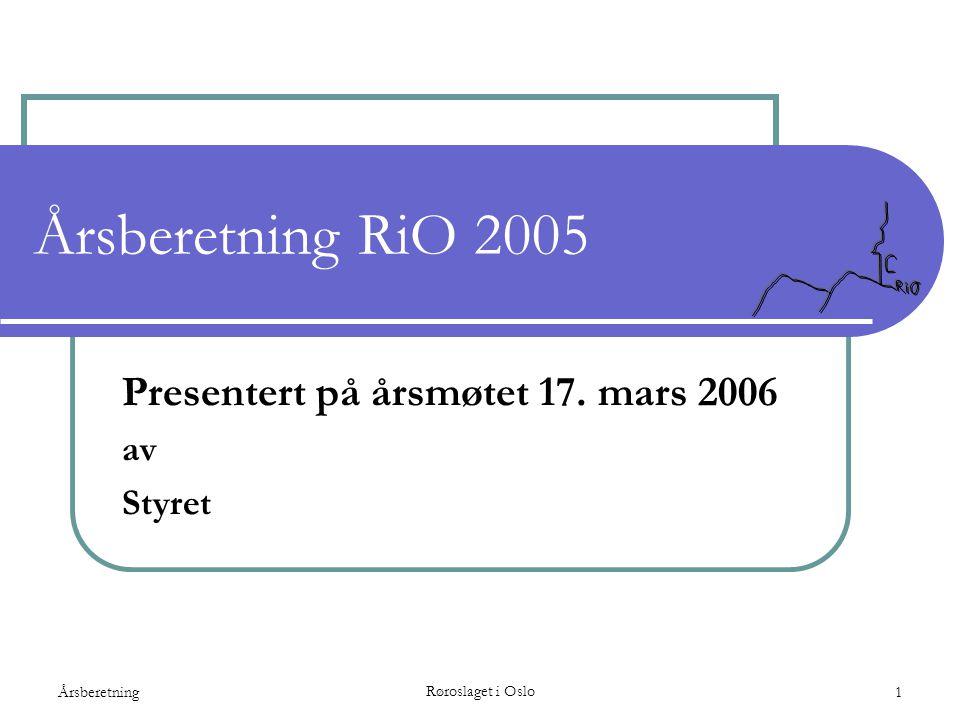 Presentert på årsmøtet 17. mars 2006 av Styret