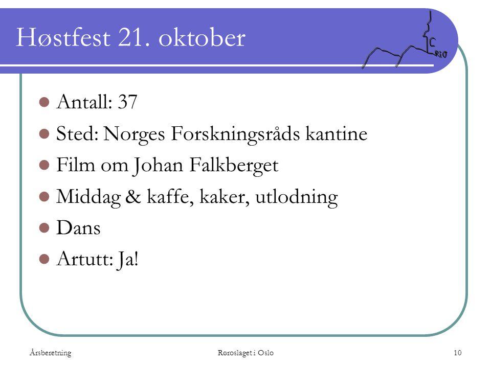 Høstfest 21. oktober Antall: 37 Sted: Norges Forskningsråds kantine