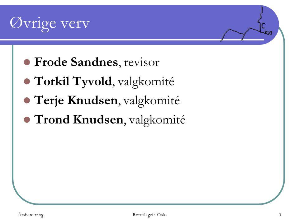 Øvrige verv Frode Sandnes, revisor Torkil Tyvold, valgkomité